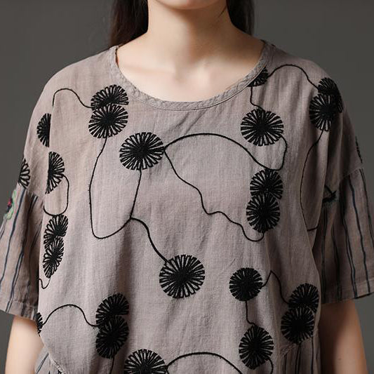 8ef4db2788cf4d ... Load image into Gallery viewer, boutique summer cotton tops plus size  Cotton Embroidery Flower Beige ...