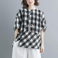 boutique summer cotton tops plus size clothing Casual Summer 12 Sleeve Plaid Blouse