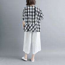 Load image into Gallery viewer, boutique summer cotton tops plus size clothing Casual Summer 12 Sleeve Plaid Blouse