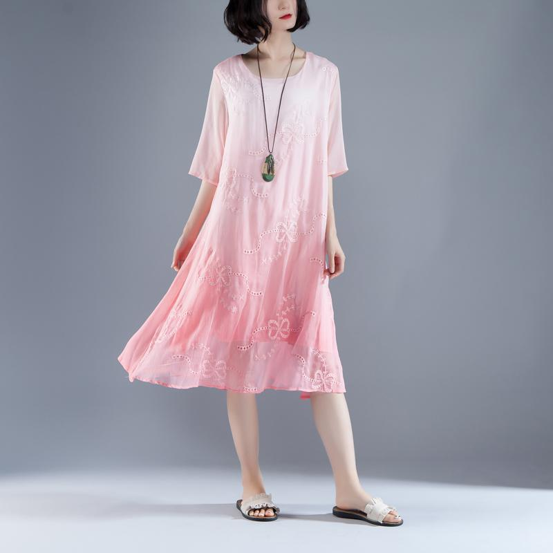 boutique summer dress bohemian style Flower Summer Fake Two-piece Retro Pink Dress