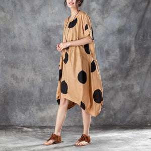 boutique summer dress trendy plus size Loose Linen Polka Dot Women Dress with Pocket