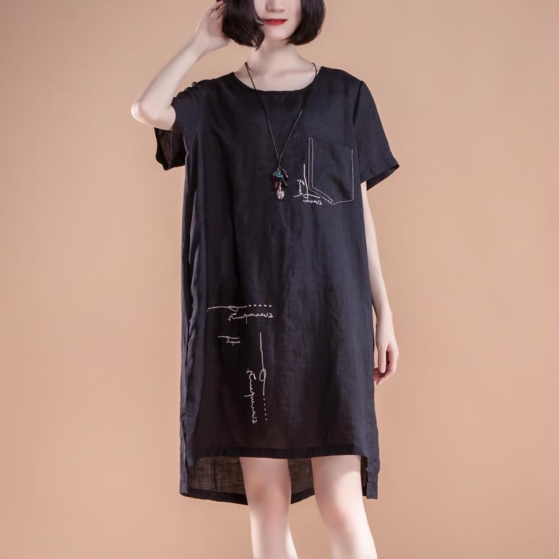 boutique summer dresses Loose fitting High-low Hem Summer Short Sleeve Pockets slit Black Dress