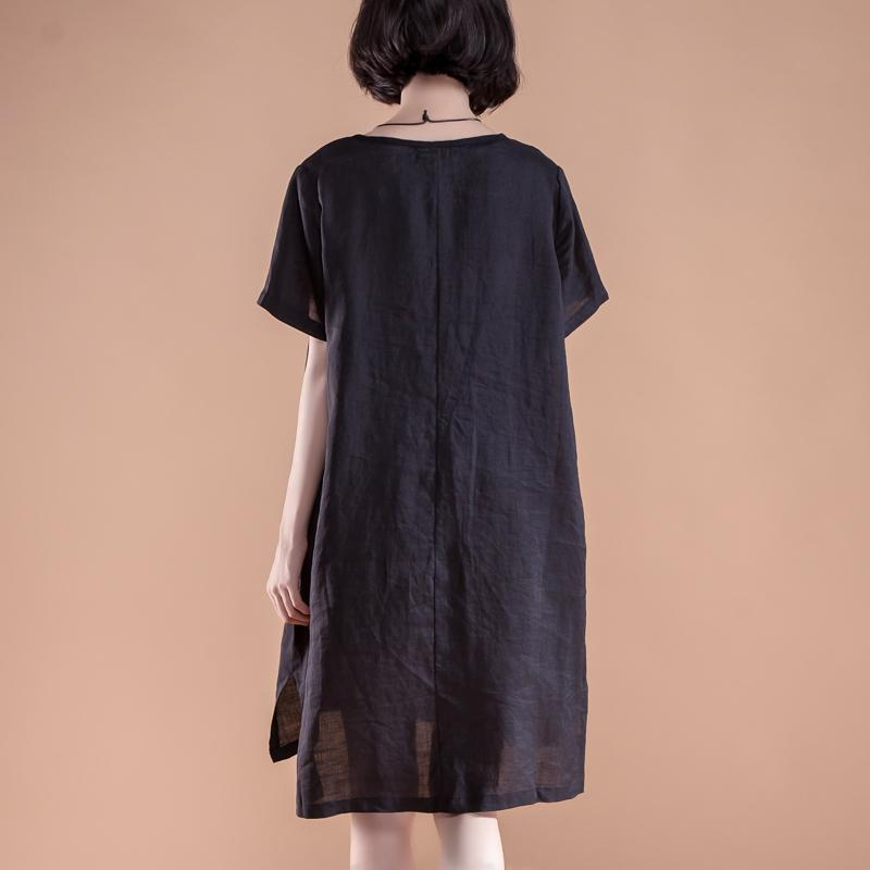 aa8562009c3b ... boutique summer dresses Loose fitting High-low Hem Summer Short Sleeve  Pockets slit Black Dress ...