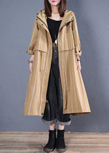 Load image into Gallery viewer, boutique women casual Coats fall khaki striped hooded zippered overcoat
