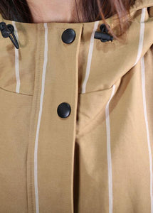 boutique women casual Coats fall khaki striped hooded zippered overcoat