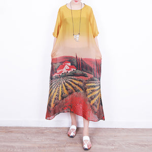 boutique yellow long silk chiffon dress oversized prints traveling clothing Fine o neck caftans