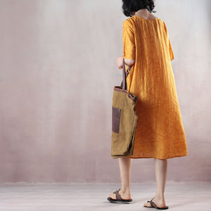 boutique yellow pure linen dresses oversized linen dress casual short sleeve Jacquard O neck linen dress