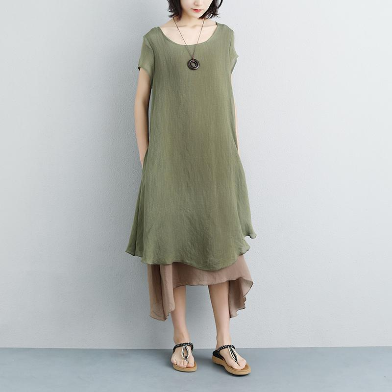 brief cotton gown plus size clothing False Two-piece Short Sleeve Green Plain Dress