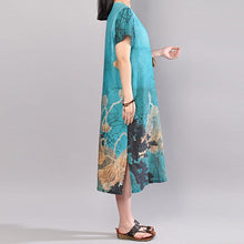 Load image into Gallery viewer, brief linen cotton dress Loose fitting Short Sleeve Flower Summer Retro Long Dress