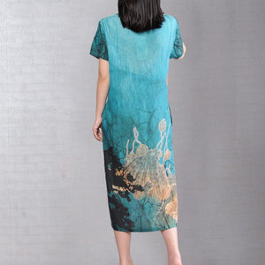 brief linen cotton dress Loose fitting Short Sleeve Flower Summer Retro Long Dress