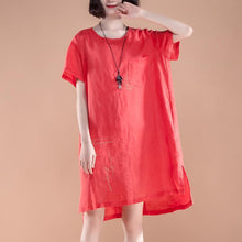 Load image into Gallery viewer, brief linen dress casual High-low Hem Summer Short Sleeve Pockets slit Red Dress