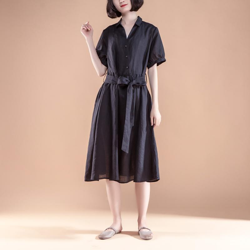 brief linen shift dress Loose fitting Short Sleeve Pleated Belt Summer Casual Black Dress