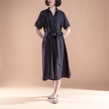 Load image into Gallery viewer, brief linen shift dress Loose fitting Short Sleeve Pleated Belt Summer Casual Black Dress