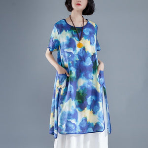 brief linen sundress trendy plus size Short Sleeve slit Summer Casual Printed Dress