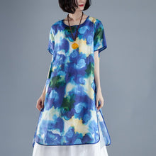 Load image into Gallery viewer, brief linen sundress trendy plus size Short Sleeve slit Summer Casual Printed Dress
