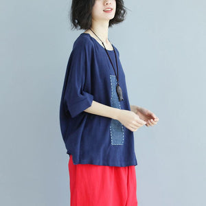 brief linen tops trendy plus size Loose Bat Sleeve Round Neck Splicing Linen Shirt