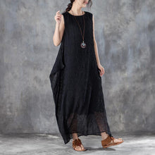 Load image into Gallery viewer, brief long cotton dresses oversized Round Neck Sleeveless Summer Black Long Dress