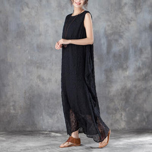 brief long cotton dresses oversized Round Neck Sleeveless Summer Black Long Dress