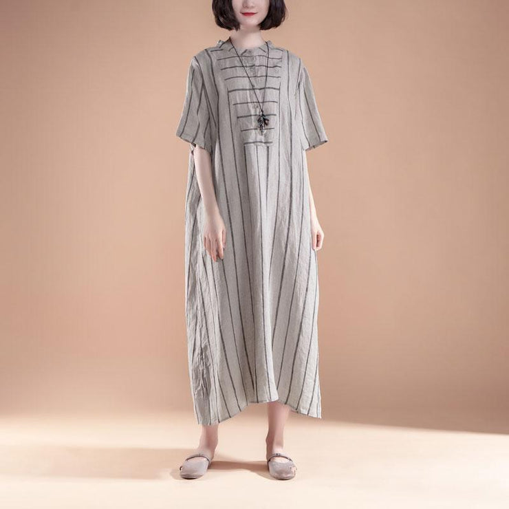 brief long linen dresses oversized Short Sleeve Slit Summer Round Neck Stripe Dress