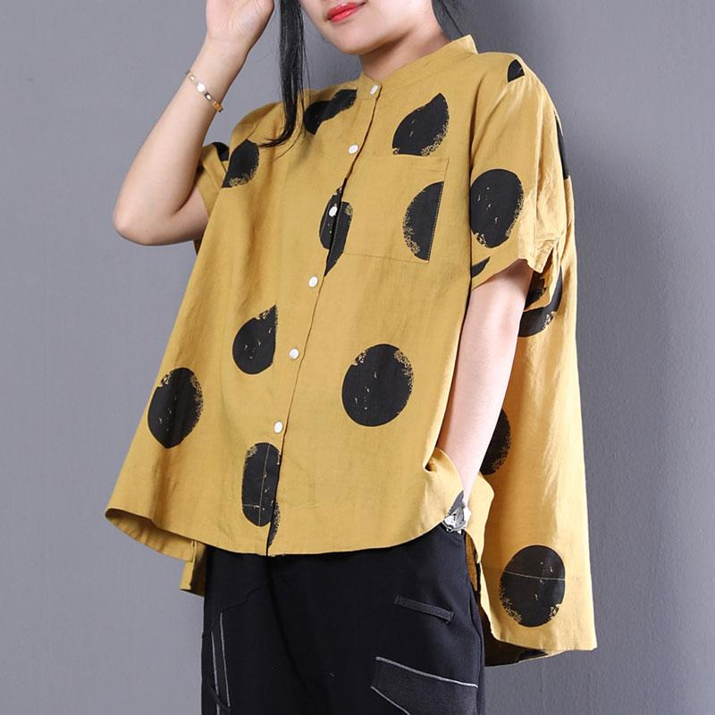 brief natural cotton t shirt plus size clothing Stand Collar Short Sleeve Loose Cotton Yellow Shirt