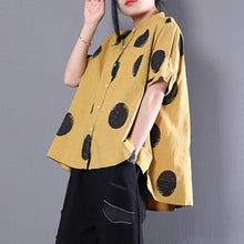 Load image into Gallery viewer, brief natural cotton t shirt plus size clothing Stand Collar Short Sleeve Loose Cotton Yellow Shirt