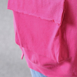 brief pure cotton blouse oversize Casual Hooded Short Sleeve Cotton Rose Red Tops