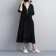 brief summer dress Loose fitting Loose Casual Short Sleeve Side Slit Black Lacing Dress