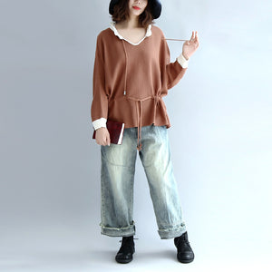 brown plus size cotton sweaters pullover drawstring long sleeve knit tops