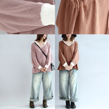 Afbeelding in Gallery-weergave laden, brown plus size cotton sweaters pullover drawstring long sleeve knit tops