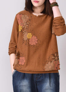 brown prints knit jacket oversized autumn knitwear o neck