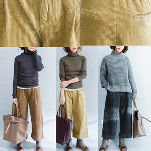brown stylish warm cotton corduroy wide leg pants vintage casual trousers
