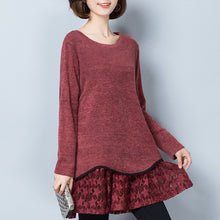 Load image into Gallery viewer, burgundy false two pieces knit pullover dresses plus size o neck mid dress