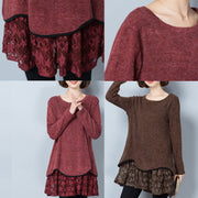 burgundy false two pieces knit pullover dresses plus size o neck mid dress