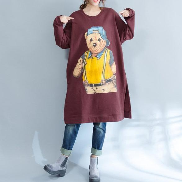 burgundy fashion cotton traveling dress oversize o neck cartoon print maternity dress