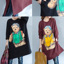 Load image into Gallery viewer, burgundy fashion cotton traveling dress oversize o neck cartoon print maternity dress