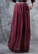 Load image into Gallery viewer, burgundy linen fall new skirts loose elastic waist maxi skirts