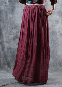 burgundy linen fall new skirts loose elastic waist maxi skirts