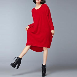 burgundy low high cotton knit dresses plus size women sweater dress