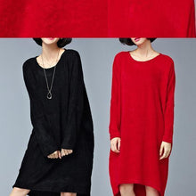 Load image into Gallery viewer, burgundy low high cotton knit dresses plus size women sweater dress