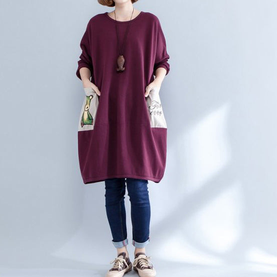 burgundy pockets prints cotton casual dress plus size o neck baggy dress