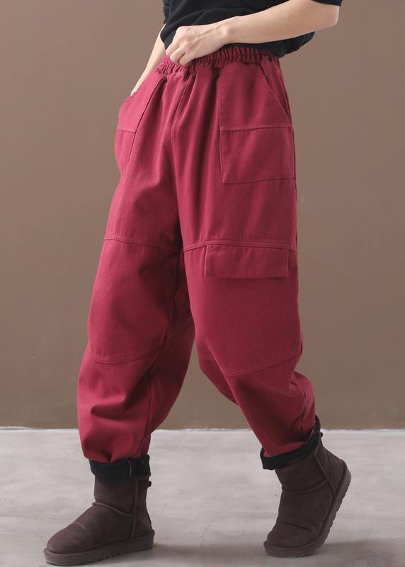 burgundy women elastic waist cotton trousers plus size false pockets harem pants