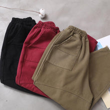 Load image into Gallery viewer, burgundy women elastic waist cotton trousers plus size false pockets harem pants