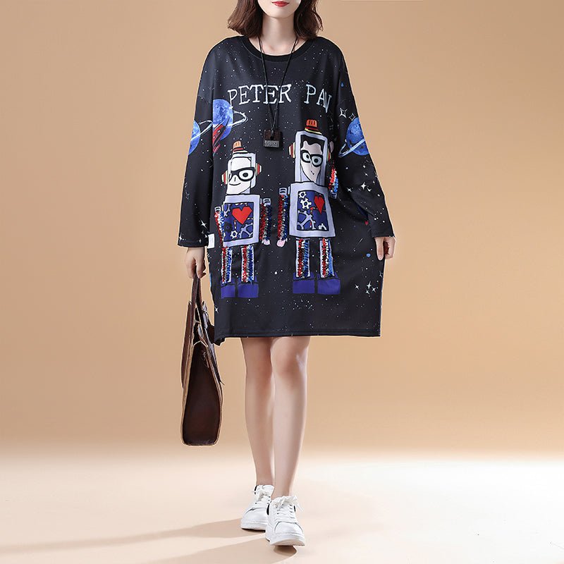 cartoon print 2021 fall black cotton casual dresses plus size long sleeve fashion shift dress
