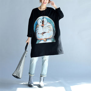 cartoon print black cotton mid long t shirt plus size o neck tops