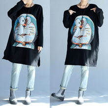 Load image into Gallery viewer, cartoon print black cotton mid long t shirt plus size o neck tops