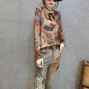 cartoon print women new cotton t shirt oversize wild long sleeve tops cozy fall 2017