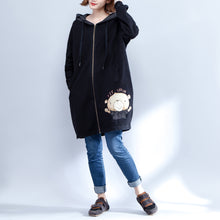 Load image into Gallery viewer, cartoon prints black cotton trench coats plus size casual thick slim fit cardigans outwear