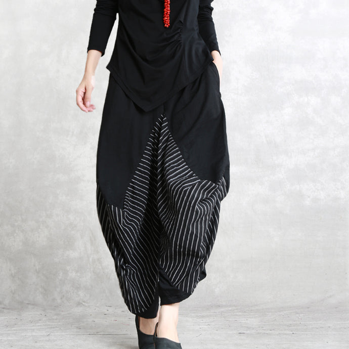 casual black striped cotton blended wide leg pants elastic waist stylish casual pants