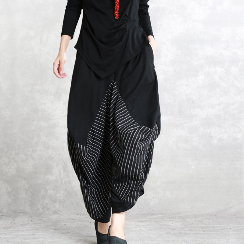 casual black striped cotton blended wide leg pants elastic waist stylish casual  pants fcf8ebbaa35