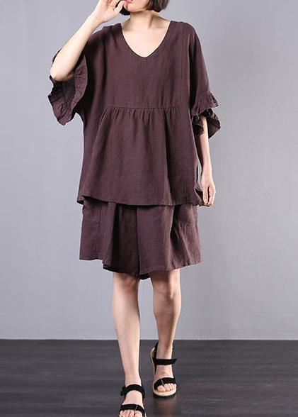 chocolate cotton linen v neck ruffles tops and women casual shorts two pieces